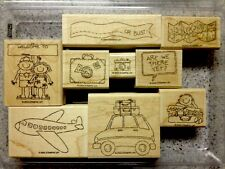 """""""TRAVEL TIME"""" Stampin'UP! NEW~WOOD~ mounted-Plane-Car-Family-Suitcases"""