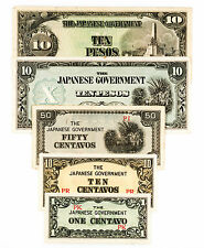 5 diff. WW2 Philippines 1940's Japanese invasion paper money circ.-Au