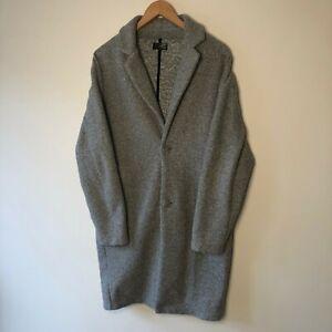 Zara Men's Grey Teddy Bear Overcoat Formal Coat Size Medium M