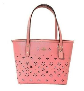 NWT COACH Mini City Zip Eyelet Flower Leather Tote Cute Vintage Pink Gold F28971