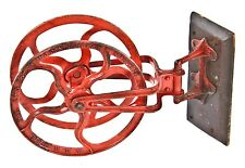 1890's INDUSTRIAL SWING-OUT CAST IRON FIRE HOSE REEL BRACKET W/ RED FINISH