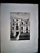 44-20-4 Gravure eau forte XIXe Paris maison de renaissance pl St André des arts