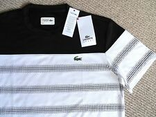 LARGE LACOSTE SPORT Size 5 Ultra Dry Sports T Shirt Black White Tennis Gym TAG