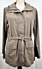 Lands' End Canvas Military Linen Blend Hooded Jacket Coat Taupe Size 6