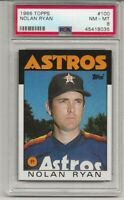 1986 TOPPS #100 NOLAN RYAN, PSA 8 NM-MT, HOF, TOUGH CARD, HOUSTON ASTROS, L@@K !