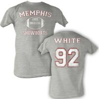Reggie White #92 USFL Memphis Showboats Men's Tee Shirt Gray Sizes S-5XL