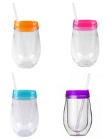 Bev2go double wall insulated 10 oz acrylic tumbler stemless wine glass with lid ebay - Insulated stemless wine glasses ...