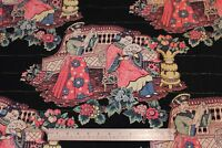 "Vintage American Chinoiserie Barkcloth Home Fabric Panel c1930-1940~2y12""LX43""W"