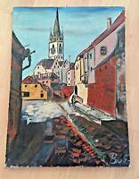 Akademie Künstler Bild Öl auf Leinen,abstract Kirche Stadt,Monogramm+datiert