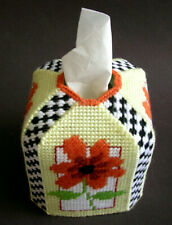 Orange Floral Handmade Plastic Canvas Tissue Box Cover Completed