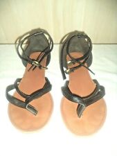 ecdf034223e Women s FOREVER 21 Sandals Black Straps Ankles Toes Thong Size 8.5