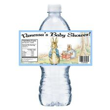 20 PETER RABBIT BABY SHOWER PARTY FAVORS GLOSSY WATER BOTTLE LABELS WRAPPERS
