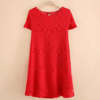 Summer Women Floral Lace Short Sleeve Cocktail Evening Party Casual Mini Dress .