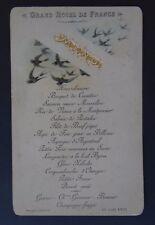 Rare MENU GRAND HOTEL DE FRANCE 12 mai 1892 bords dorées french restaurant card