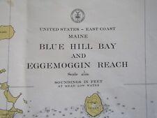 11 Antique Vntg Maine Coast Nautical Charts & Mahogany Chart Case ~ 1930 to 1957