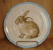 """222 FIFTH Blue Edged Bunny Land Rabbit 8 5/8"""" Plate"""