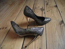 *NEW* MISS SELFRIDGE black & gold court shoes, gold stiletto heel, EU36 UK3 £50!