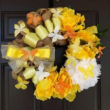 "22"" Wonderful Unique Handmade Yellow White Wreath - Sunny Day GREAT GIFT"