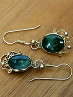 Vintage Lovely Sorrento Gold Filled  Cabochon Jade French Wire Earrings