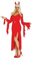 Ladies Sexy Long Red Devil Demon Halloween Fancy Dress Costume Outfit 14-16-18