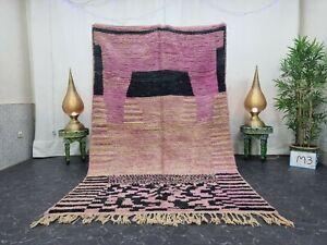 """Moroccan Boujaad Handmade Rug 5'3""""x8'7"""" Berber Patchwork Purple Black Wool Rug"""