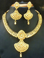 Indian Necklace Earrings 22K Gold Plated Exclusive Bollywood set jewelry b