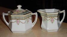 Carl Schlegelmilch C.S. Prussia Porcelain Creamer & Sugar Set - Pink Roses