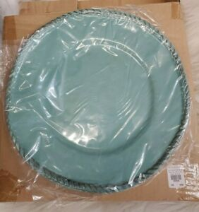 Set (4) Pottery Barn Rope Melamine DINNER PLATES 11 3/8 Round Turquoise Teal H