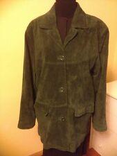 JessicaHolbrook Washable EverGreen LeatherSuede Jacket Lined ButtonFront Sz L