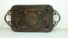 Antique Old Collectible Hand Carved Peacock design Work Solid Brass Plate Tray