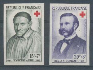 1958 France N°1187 + 1188 BDF Non dentelés Neufs luxe** COTE 115€ D1444