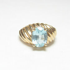 Estate 14K Yellow Gold 2.40 Ct Natural Oval Ice Blue Topaz Solitaire Ring