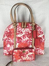 New COACH Pink Floral Dome Satchel 31341 & East West Universal Wristlet 62605