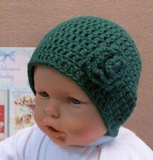 Crochet Baby Hat, Green Beanie With Crochet Wool Flower Warm Winter Baby Toddler