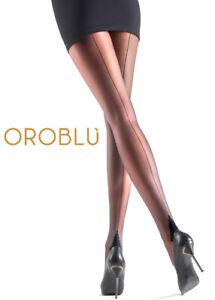 Oroblu Riga 20 back seamed tights sheer to waist, pyramid heel, multiyarn
