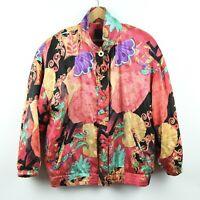 Vintage 80s 90s Silk Windbreaker Jacket Baroque Hip Hop Colorful Vivid Art L