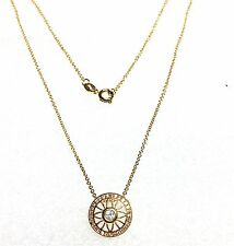 Yellow Gold Overlay 925 Sterling Silver Cubic Zirconia Pendant Necklace