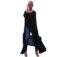 Women Off The Shoulder Casual High Split Crop Tops Long Maxi Shirt Blouse New