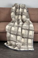 BLANKET 160X180cm CHEQUERED WOOL MERINO PURE WARM SOFT NATURAL THROW BEDSPREAD