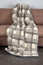 COUVERTURE 160x180cm à carreaux laine mérinos PUR chaud doux naturelle Couvre