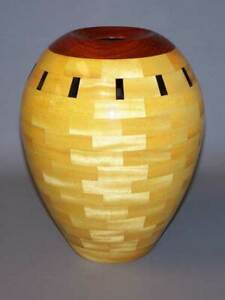 John Morris Yellowheart and Walnut Segmented Vase Hand Made (9/07)