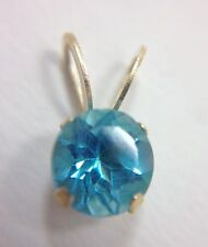 .60Ct Round Cut Blue Topaz Floating Solitaire Pendant for Necklace 14k Yellow...