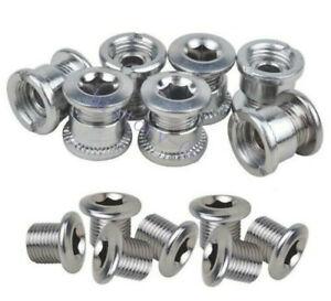 Steel Bike Chainring Bolts 6.5 Single 8.5 Double Triple Speed Nuts Screws Silver