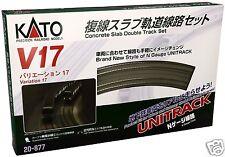 Kato N Unitrack V17 R414/381 Concrete Slab Double Track Set 20-877