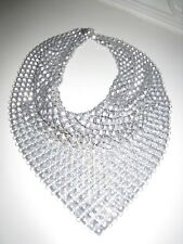 VINTAGE 1940's  Silver Mesh Chain Mail Bib Necklace