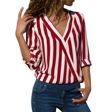Women Blouse Stripe Work Office Long Sleeve Ladies Top T Shirt Loose Casual Tops