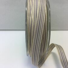 "3/8"" Grosgrain Ivory Striped Ribbon - May Arts - RG31 - Grey/Ivory - 5 Yards"