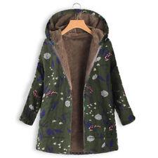 New Women Winter Warm Outwear Floral Print Hooded Pockets Vintage Oversize Coats