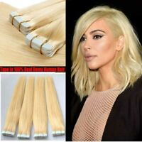 20pcs set Blonde Clip in Human Hair Extensions PU Tape in Skin Weft Hair #24 NEW