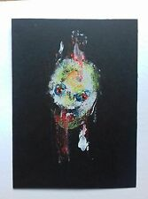 Abstract portrait painting in gouache and acrylic  paint. Dark art brut
